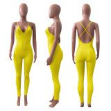 Sexy Solid V Neck Backless Cross Strap Jumpsuit NIK-252