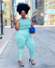 Plus Size Solid Sleeveless Stacked Pants 2 Piece Sets YFS-10013