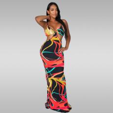 Sexy Print Spaghetti Strap Long Dress OY-6296