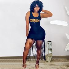 QUEEN Letter Tassel Sleeveless Midi Dress OYF-8268
