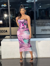 Sexy Printed Tube Top Long Skirt Two Piece Sets CM-2143