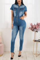 Plus Size Denim Zipper Skinny Jeans Jumpsuit LX-6056