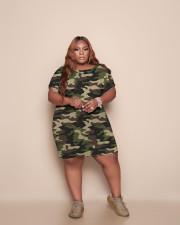 Plus Size Casual Short Sleeve Camo Print Dress TCF-084