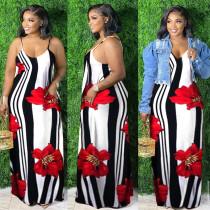 Plus Size Floral Stripe Print Sling Maxi Dress WXF-8885