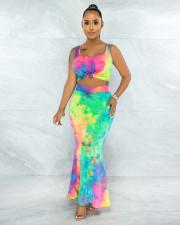 Tie Dye Printed Sleeveless Maxi Skirt 2 Piece Sets APLF-5071
