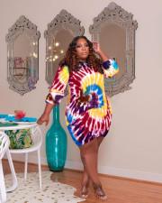 Plus Size Tie Dye 3/4 Sleeve Print Dress TCF-085