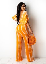 Casual Printed V Neck Crop Top And Pants 2 Piece Sets APLF-5072