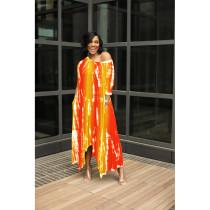 Plus Size Printed Half Sleeve Loose Maxi Dress WXF-8875