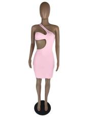 Sexy Solid One Shoulder Hollow Mini Dress LWDF-8822