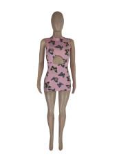Butterfly Print Sleeveless Mini Dress LWDF-8802