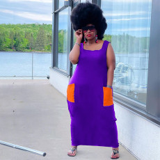 Plus Size Casual Sleeveless Pocket Maxi Dress YAOF-80046
