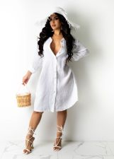 Casual Solid Long Sleeve Buttons Shirt Dress BS-1275
