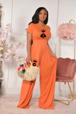Printed Fashion Casual Short Sleeve Wide-leg Pants Two Piece Sets MQXF-23571