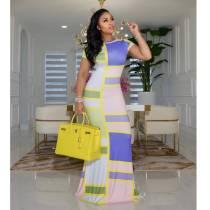 Sexy Printed Short Sleeve Slim Maxi Dress SFY-2120
