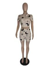 Casual Printed Short Sleeve Zipper 2 Piece Shorts Set LWDF-8808