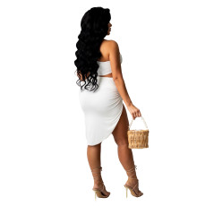 Sexy Solid One Shoulder Irregular Skirt 2 Piece Sets YIBF-6094