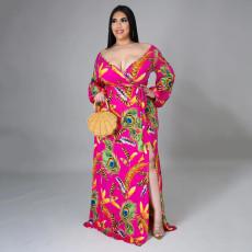 Plus Size Sexy Printed V Neck Long Sleeve Split Maxi Dress SFY-2117