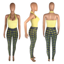 Sexy Halter Top And Plaid Pants Two Piece Sets MNSF-8205