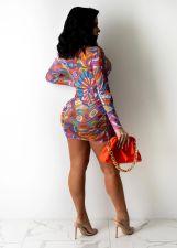 Sexy Mesh Printed Long Sleeve Club Dress With Bra BS-1274