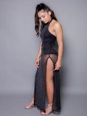 Sexy Halter Mesh Split Long Club Dress YUEM-66710