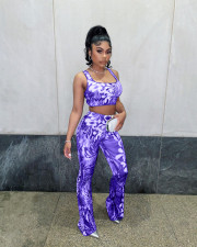 Sexy Printed Tank Top Flared Pants Two Piece Sets AIBF-6653