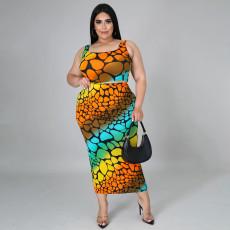Plus Size Printed Tank Top Long Skirt 2 Piece Sets SFY-2116