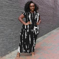 Plus Size Tie Dye Short Sleeve Loose Long Dress YSYF-7526