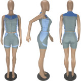Casual Printed Sleeveless Zipper 2 Piece Short Sets RM-6325