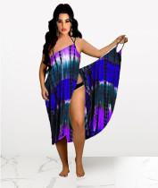 Sexy Tie-dye Print Backless Midi Dress MQXF-2335