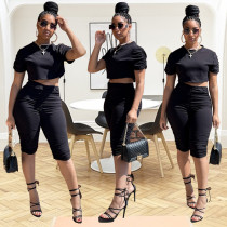 Solid Color Slim Fit Ruched Casual Two Piece Sets MQXF-2339