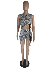 Sexy Printed Sleeveless Drawstring Ruched 2 Piece Sets LWDF-8801