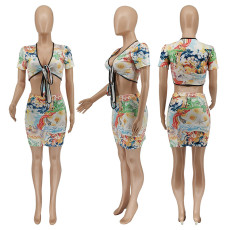 Sexy Printed Tie-Up Crop Top Mini Skirt 2 Piece Sets WSYF-5869