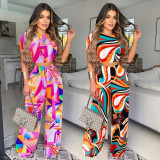 Casual Printed Short Sleeve Wide Leg Pants 2 Piece Sets XSF-6060