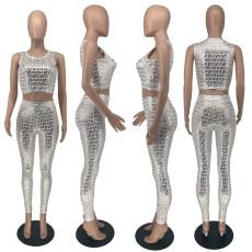 Sexy Printed Sleeveless Two Piece Pants Set YHDF-60041