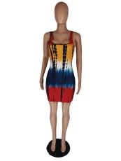 Tie Dye Print Sleeveless Mini Dress LWDF-8828