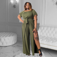 Plus Size Casual Loose Solid Color Short Sleeve Trousers Two Piece Sets MQXF-2351