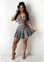 Plus Size Houndstooth Print Sleeveless Pleated Mini Skirt Sets KYF-8044
