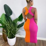 Contrast Color Ribbed Sleeveless Slim Midi Dress ORY-5198