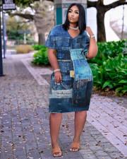 Plus Size Casual V Neck Pocket Midi Dress TK-6189