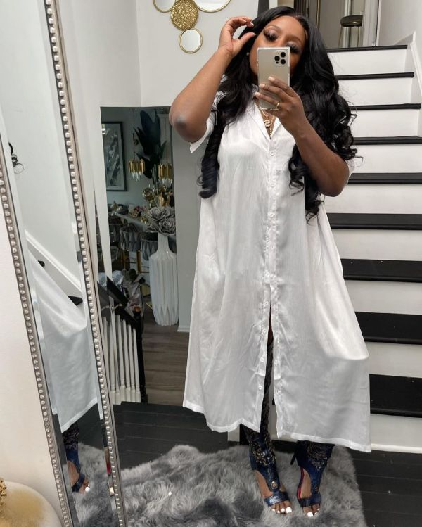White Half Sleeve Buttons Split Long Dress ORY-5195