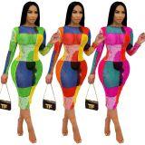 Sexy Mesh Printed Long Sleeve Midi Dress ORY-5197