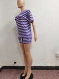 Casual Striped T Shirt Pocket Shorts 2 Piece Sets NYF-8077