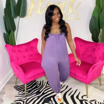 Solid Sleeveless Strap Loose Jumpsuit DSF-88035