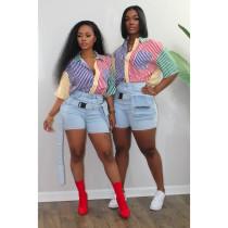 Fashion Multicolor Striped Print Shirt LUO-3150