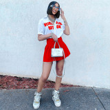 Fashion Sexy Letter Print Shirt Pleated Skirt Suit SZF-8139