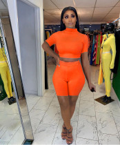 Solid Short Sleeve Tight Two Piece Sets FNN-8622