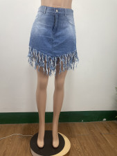 Denim Tassel High Waist Mini Skirt DAI-8360