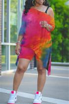 Plus Size Tie Dye Split Loose Top And Shorts 2 Piece Sets CYAO-00020