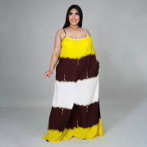 Plus Size Contrast Color Sleeveless Strap Loose Maxi Dress BMF-PP070