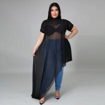 Sexy Plus Size See-through Irregular Dress CYA-1611